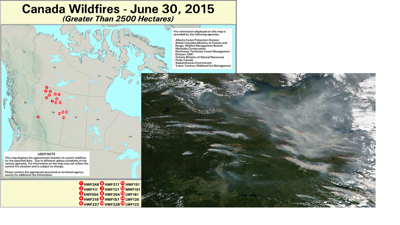 Canada Wildfires 2015 Map Canadian Wildfires and US Air Quality, June 30, 2015 | PSAQFO